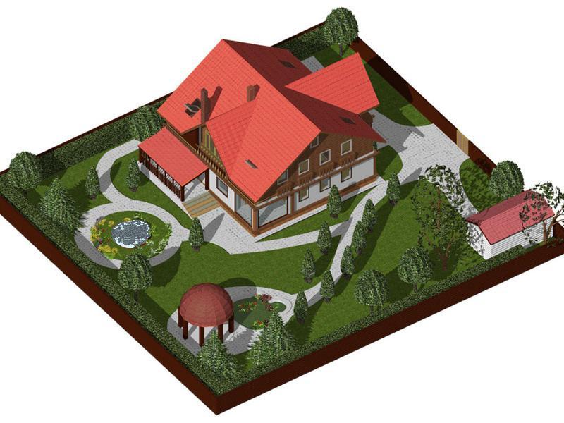 Дизайн участка загородного дома 8 соток 176